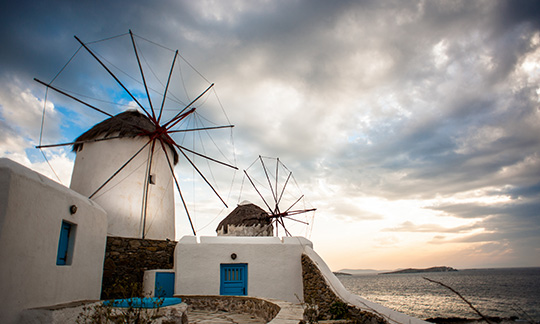 Windmills of the Mykonos Island
